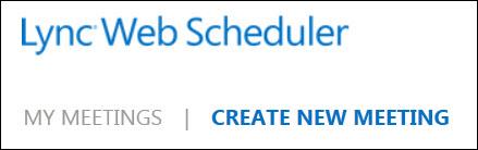 Screen shot of create a new meeting