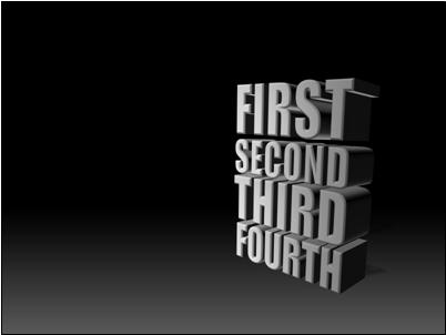 Stacked, 3-D text at dramatic angle