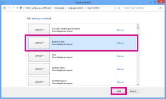 Adding input method in Windows 8