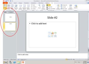 The pane that contains the Outline and Slides tabs