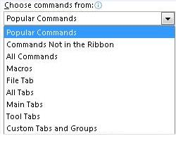 Choose commands from list
