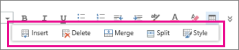 Table formatting tools in Outlook Web App