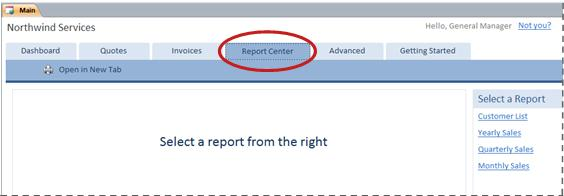 Report Center tab of the Services database template