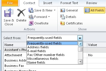 Select the type of information to enter in All Fields page