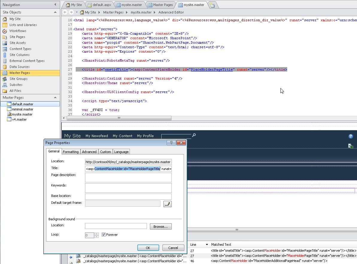 When you open the My Site master page, you can edit the file as well as it's properties.