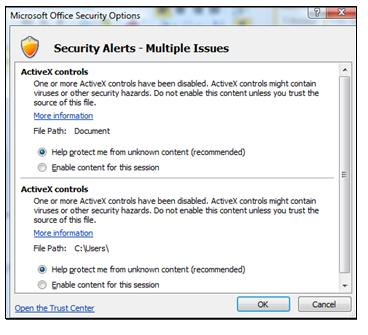 Security Options dialog to trust active content