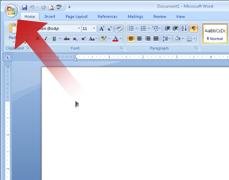 Arrow pointing to the Microsoft Office Button
