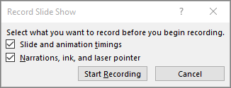 Shows record slideshow dialog in PowerPoint