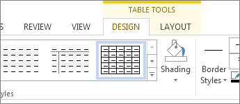 Table Tools tab