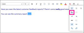 Screenshot showing where the insert hyperlink icon is.