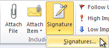 Signatures command on the ribbon