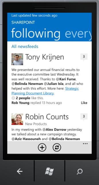 Screenshot of Newsfeed app on Windows Phone