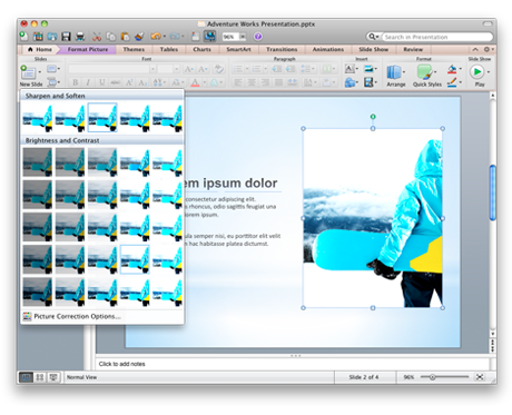 Presentation with photo tools showing