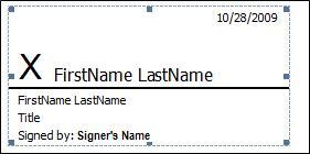 Signature line with signature