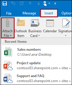 Attach a file in Outlook 2016