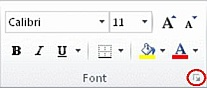 dialog box launcher in the font group