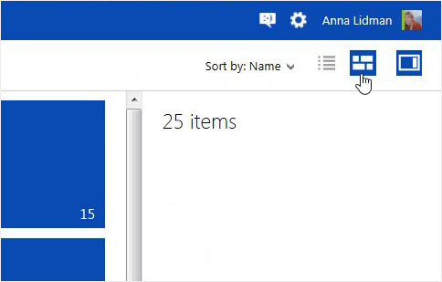 Changing the view between Details and Thumbnail on OneDrive website