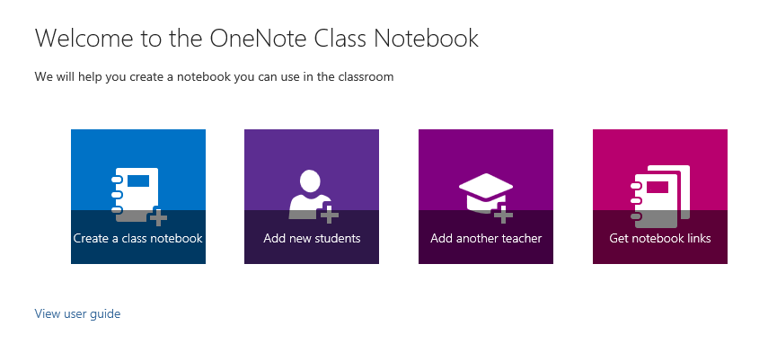 The Class Notebook Creator welcome screen