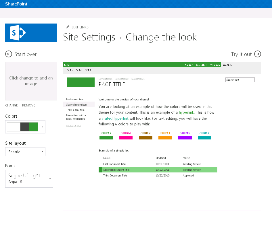 Screen shot showing the color, layout, and font customizations available on the change the look screen.