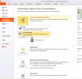 The File tab as a way to see whether other authors changed your presentation