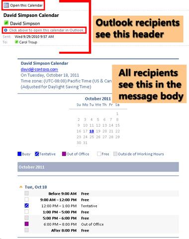 Example of calendar received using E-mail Calendar feature