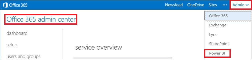 Admin Center link under Admin menu