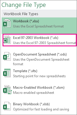 Excel 97-2003 Workbook format