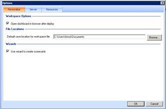 The Options dialog box for Dashboard Designer