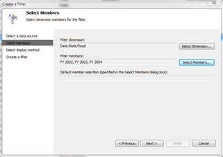 Select members dialog box with 3 fiscal years selected