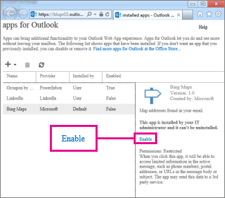 Enable an app for Outlook