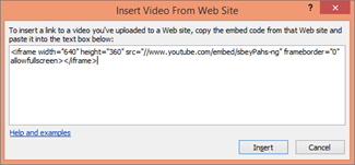 Paste the iframe embed code in the box