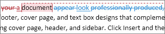 All markup showing in a document