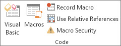 Code group on the Developer tab in Excel