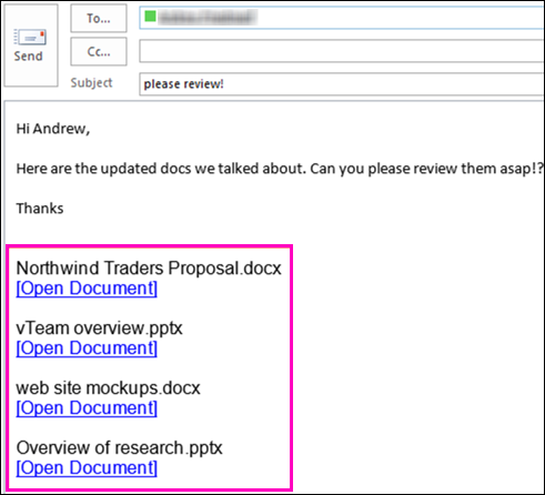 Include links to documents in email.
