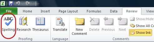 Excel Ribbon Review Tab Spelling