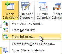 Open calendar from the Internet command on the ribbon