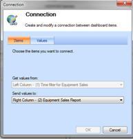 Connection dialog box for scorecard