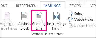 Greeting Line mail merge field button
