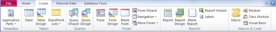 The Create tab on the ribbon in Access