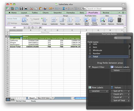 Excel workbook showing the new PivotTable interface
