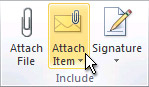 Attach Item command on the ribbon