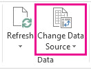 Change Data Source button on the Analyze tab of the PivotTable Tools