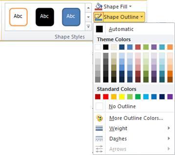 Shape Outline menu