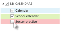 Calendars with check boxes listed in the Folder Pane
