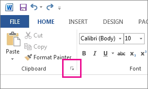 Starting the Clipboard in Word 2013