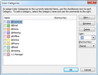 Color Categories dialog box