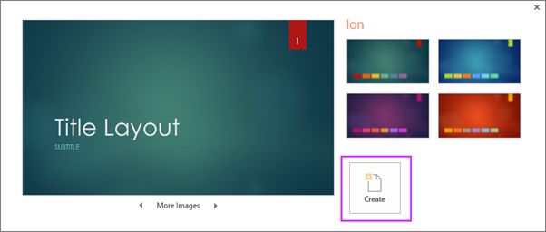 shows the create new presentation from theme dialog in PowerPoint