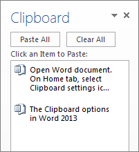 The Clipboard with several items