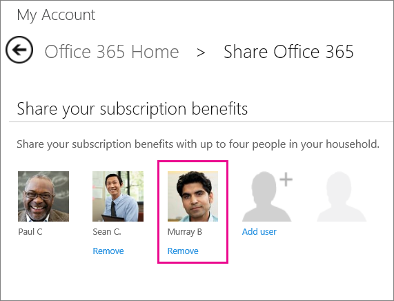 "Screen shot of the Share Office 365 page with the ""Remove"" user option selected."