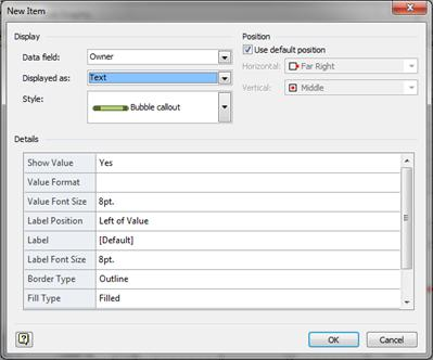 the new item dialog box with text selected